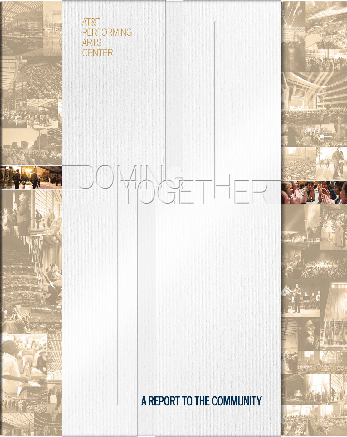 annual report cover with blind-embossed vertical band