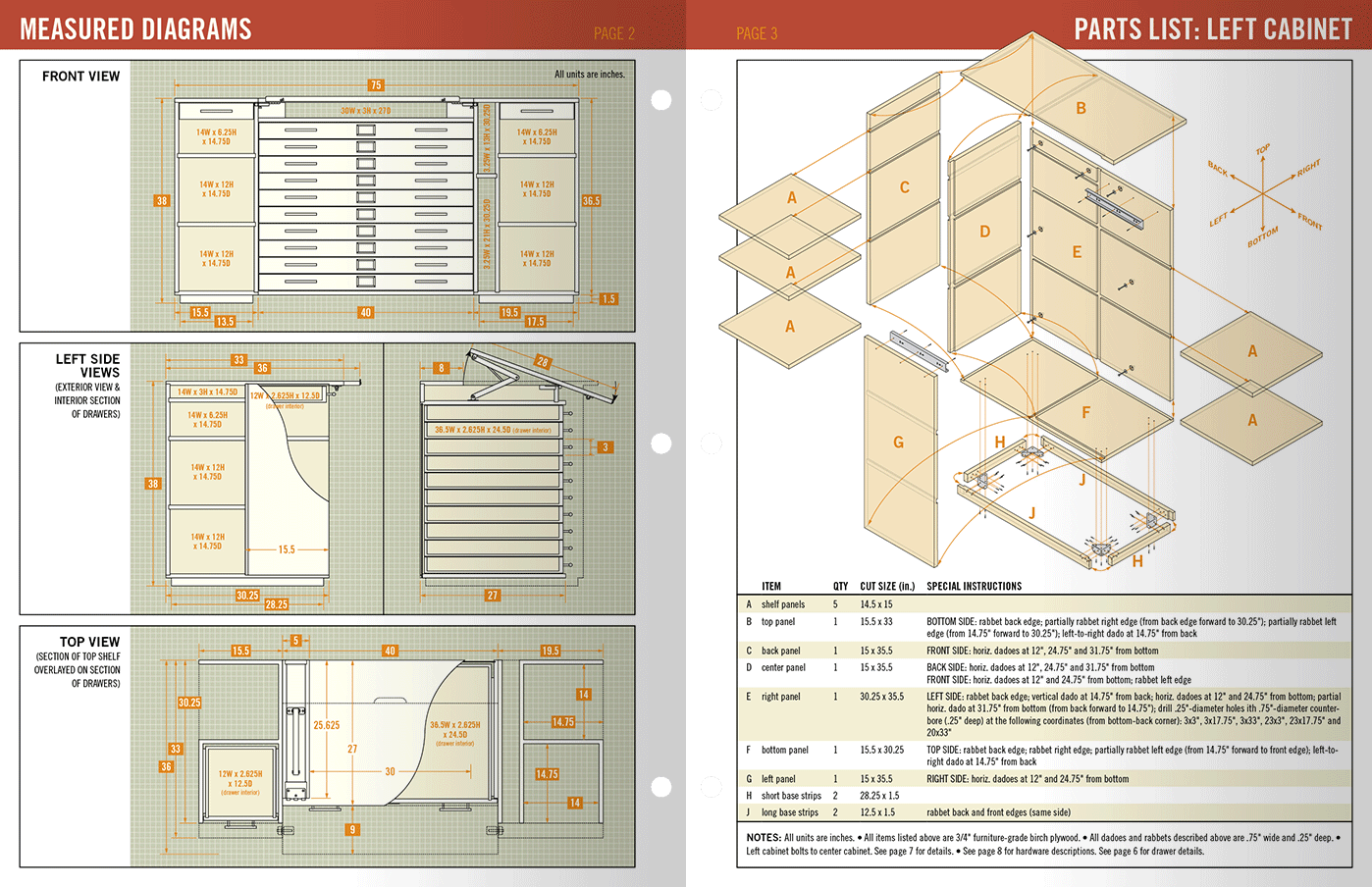 sample interior spread of woodworking plans booklet